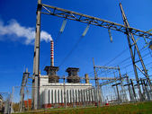 Thermal power station, and the high voltage grid — Stock Photo