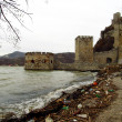 The old castle ruins and rubbish on the river bank - Foto Stock