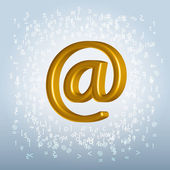 Golden shining metallic email symbol over trashy noisy backgroun — Stok Vektör