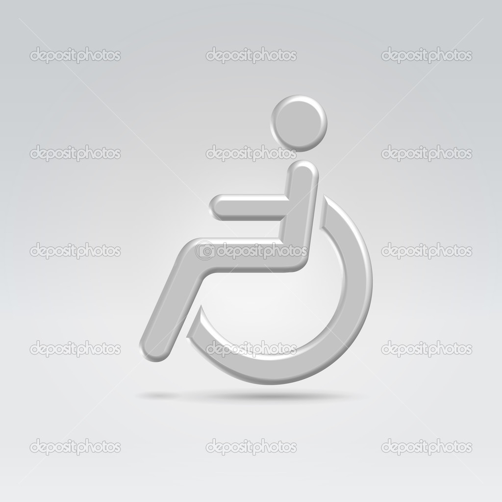 Stickman in wheelchair icon concept shot backlit made of metal  Stock Vector #10529848