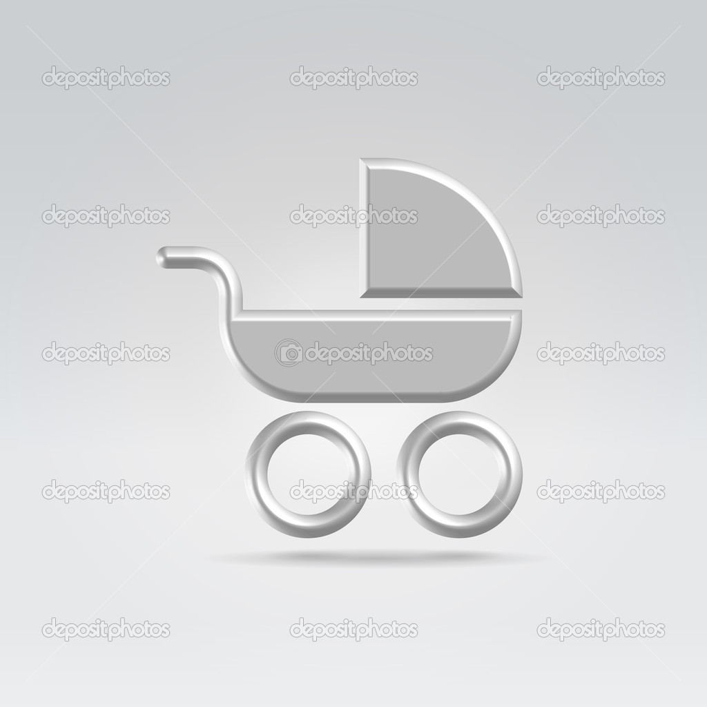 Pram carry cot icon concept shot backlit made of metal — Stock Vector #10532656