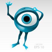 Frightened eyes mascotte — Stock Vector