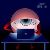 Cartoon gamer tired eye in the night — Stock Vector