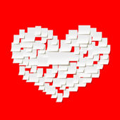 White paper heart on red — Stockvector