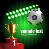 Glowing soccer symbols championship composition — Stock Vector