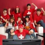Swiss sports fans — Stock fotografie