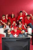 Swiss sports fans — Stock Photo