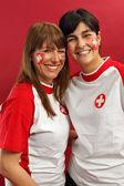 Swiss female sports fans — Stock Photo