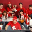Excited Swiss sports fans — Stockfoto
