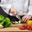 Stock Photo: Chopping vegetables