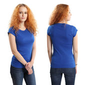 Pretty female wearing blank blue shirt — Stock Photo