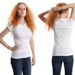 Pretty female wearing blank white shirt — Stock Photo