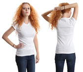 Pretty female wearing blank white shirt — Stock Photo