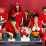 zklamaný švýcarský sportovní fanoušky — Stock fotografie