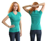 Pretty female wearing blank green shirt — Stock Photo