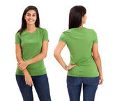 Female posing with blank green shirt — Stock Photo