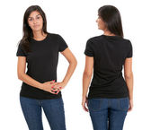 Woman standing with blank black shirt — Stock Photo