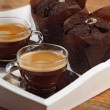 Chocolate muffins and espresso — Stock Photo