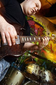 Guitarist and drummer playing — Stock Photo