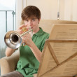 Trumpet practice at home — Stock Photo