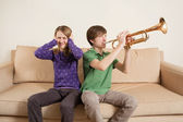 Playing trumpet badly — Stock Photo