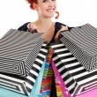 Redhead shopaholic — Stock Photo