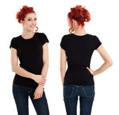 Gorgeous female with blank black shirt — Stock Photo