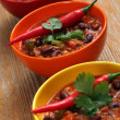 Bowls of chili — Stock Photo