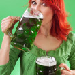 Drinking green beers — Stock Photo