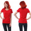 Redhead female with blank red shirt — Stock Photo