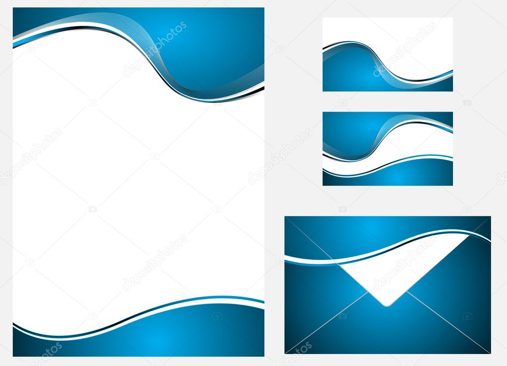 Vector blue company identity template. Clip-art — Stock Vector #9675002