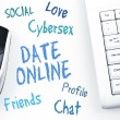 Date Online word scheme and computer keyboard — Stock Photo