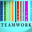 Stock Photo: Teamwork word on colored barcode