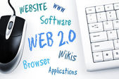 Web 2.0 word scheme and computer keyboard — Stock Photo
