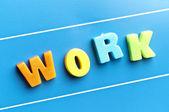 Work word on blue board — Stock Photo