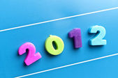 2012 word on blue board — Stock Photo