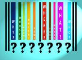 Questions words on colored barcode — Stock Photo