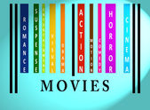 Movies word on colored barcode — Stock Photo