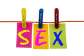 Sex word on laundry hook — Stock Photo