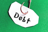 Debt message on paper — Stock Photo
