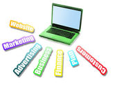 Business-nachricht und laptop — Stockfoto