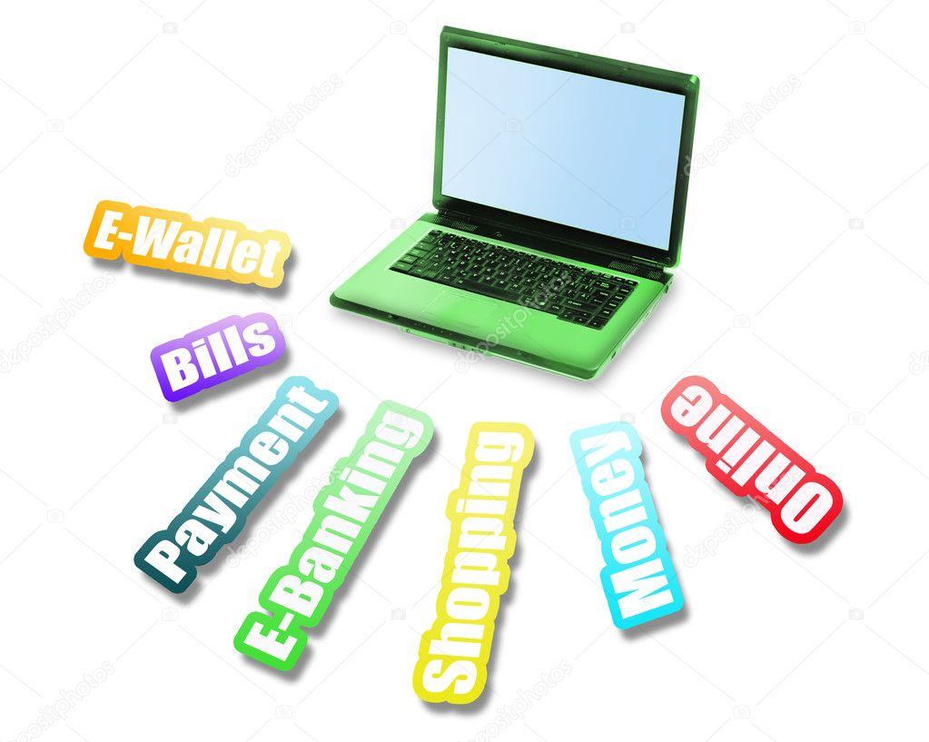 E- Banking message and laptop on white  Stock Photo #8016013