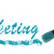 Marketing word painted and brush — Stock Photo