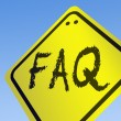 FAQ word on road sign — Stock Photo