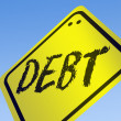 Debt word on road sign — Stock Photo