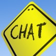 Chat word on road sign — Stock Photo