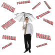 Stock Photo: Problem word and business man with umbrella
