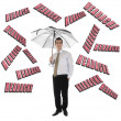 Stock Photo: Headache word and business man with umbrella