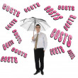 Costs word and business man with umbrella — Stock Photo