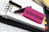 Interview note on agenda and pen — Stock Photo